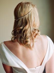wedding photo - Draped V Headpiece hair pins bandeau sparkle rhinestone bling gatsby bohemian vintage beach wedding forehead gold silver game of thrones 224