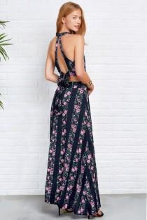 wedding photo - Floral Arrangement Hollow Maxi Dress