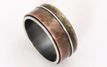 wedding photo - Rustic Mixed Metal Men Wedding Band