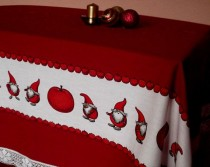 wedding photo - Christmas Table Decor Red Tablecloth with Gnomes