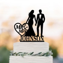 wedding photo - Personalized Wedding Cake topper letter, Cake Toppers with bride and groom silhouette, funny wedding cake toppers mr and mrs with monogram