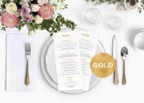 wedding photo -  Menu cards wedding - Gold Wedding Menu Card Template - Printable menu card - Gold wedding program - Downloadable wedding