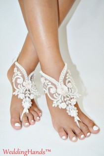 wedding photo - Handmade lace Barefoot anklet, Women's bridal ankle nude shoes, Handmade lace Barefoot sandles, Handicraft wedding barefoot sandals