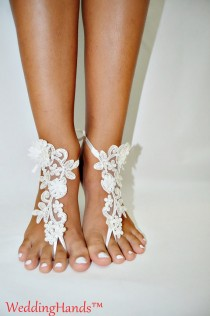 wedding photo - Lace sandals for wedding, Footless bridal Foot Jewelry, Footless beach sandals, Women's bridal ankle sandals, Women's bridal lace sandals