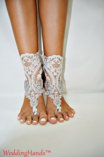 wedding photo - Women's bridal lace sandles, Lace bridesmaid sandals, Women's wedding barefoot nude shoes, Women's bridal crochet sandles, Lace beach anklet