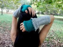 wedding photo - Turquoise Green Gloves, Knit Gloves Grey, Grey Crochet Gloves, Handmade Glove, Fingerless Glove, Grey Knitted Glove, Women Glove, Gray Glove