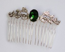 wedding photo - Bridal Emerald stone silver Hair Comb Swarovski crystal hairpins brides bridesmaids flower wedding Beach Victorian Vines Leaves Classic