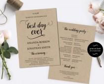 wedding photo -  Printable Wedding Program Template - DIY Wedding Program - Cheap wedding program template - Downloadable Wedding