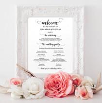 wedding photo -  Wedding programs instant download - Welcome wedding program sign printable - Wedding programs - Wedding program template download
