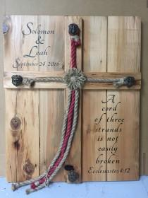 wedding photo - Personalized Rustic Wedding Alternative Unity Ceremony idea, A Cross w Jute Braided Red Jesus Rope Sign. Cord of Three Ecclesiastes new idea