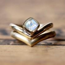wedding photo - Moonstone wedding ring set, cushion cut engagement ring set, rainbow moonstone engagement ring, modern engagement ring, Arrow ring, custom