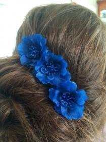 wedding photo - Hair Pin Set of 3 Midnight Royal Blue Flower Handmade Bun Chignon Bobby Hair Pin Wedding Bridesmaid Flower Girl Prom Special Occasion