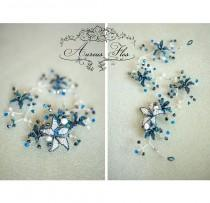 wedding photo - Hair vine, jewelry with blue flowers, freshwater pearls and Swarovski beads, Bridal halo, Dragonfly flowers, Rustic boho and beach wedding