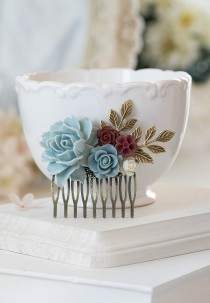 wedding photo - Bridal Hair Comb Dusty Blue Dusky Blue Powder Blue Maroon Burgundy  Dark Red Ivory Rose Flower Collage Comb Country Chic Garden Wedding Comb