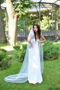 wedding photo - Simple wedding veil, Bridal veil long, single tier, 88 inches, Cathedral Wedding Veil, Chapel Ivory Veil, White veil, veils
