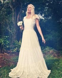 wedding photo - Gypsy Princess Bridal Tier Dress, Bohemian Beach Wedding Dress