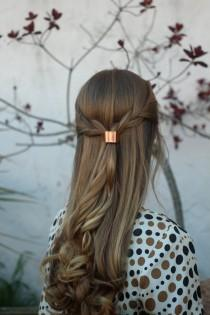 wedding photo - Metal hair cuff - size small copper ponytail holder rustic hair accessories silver pony tail tie boho chic shiny brass hair slide for her