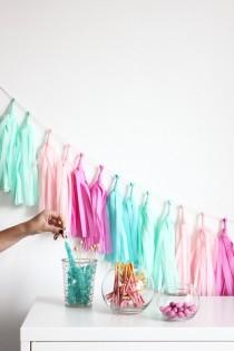 wedding photo - Mint and Pink Tassel Garland Pink - CANDY SHOPPE - The Flair Exchange