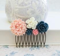 wedding photo - Peach Flower Hair Comb Floral Wedding Accessories Navy Blue Rose Pink Peach Dahlia Hair Clip Beach Flowers Bridesmaids Gifts Summer Garden