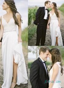 wedding photo - Simple slit chiffon boho open back lace wedding dress
