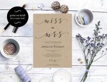 wedding photo -  Bridal Shower Invitation - Miss to Mrs bridal shower invitation - Simple Script Bridal Shower Invitation - Printable Wedding
