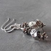 wedding photo - Gray Crystal Bridal Jewelry Bridesmaid Earrings Beaded Dangles Grey Wedding Jewelry Bridesmaid Jewelry Gift Silver Crystal Earrings Smoke