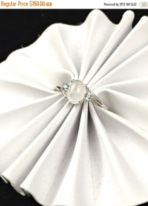wedding photo - Veterans Day Sale Unique Rainbow Moonstone and Aquamarine Sterling Silver Gemstone Engagement Ring