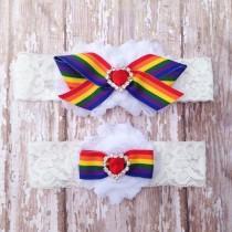 wedding photo - Rainbow Garter Set