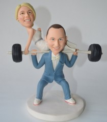 wedding photo - Unique wedding cake topper,personalized toppers,funny cartoon Weightlifting bride & groom figure, groom lift bride, Dumbbells,Barbell
