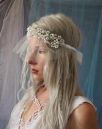 wedding photo - Mini Crystal Pearl Rhinestone headpiece headband Veil blusher birdcage vintage inspired short modern wedding Bridal Veil mini short