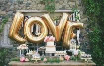 "wedding photo - lot 4 letter balloon balloons ""LOVE"", LOVE, gold, gold"