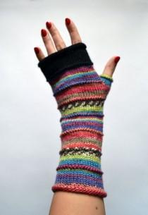 wedding photo - Merino Wool Fingerless gloves -  Fingerless gloves - Fashion Gloves - Rainbow Fingerless Gloves   nO 49.