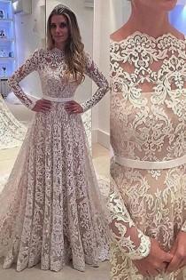 wedding photo - Simple Scalloped-Edge Long Sleeves Sweep Train Lace Wedding Dress with Sash
