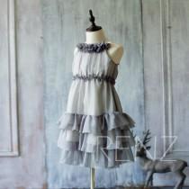 wedding photo - 2016 Grey Junior Bridesmaid Dress, Gray Ruffle Flower Girl Dress, Rosette dress, Floor length, Floral Headdress (HK123A)