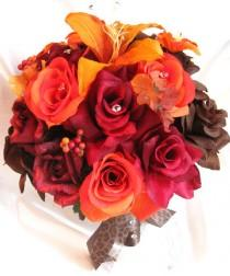 "wedding photo - Wedding bouquets Bridal Silk flower BURGUNDY Burnt ORANGE Lily BROWN Fall 17 pcs package Artificial bouquet boutonnieres ""Roses and Dreams"""