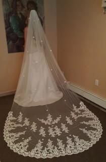 wedding photo - Gorgeous Cathedral Lace Veil/ White or Ivory / Soft tulle / Chapel Length or Cathdral Veil