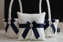 wedding photo - Navy Blue 2 Flower Girl Baskets   1 Ring Bearer Pillow  Navy Wedding Baskets and ring Pillows with Lace and Brooch  Lace Petals Baskets