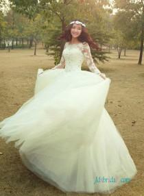 wedding photo - Dreamy beaded lace appliqued illusion lace long sleeved princess wedding dress