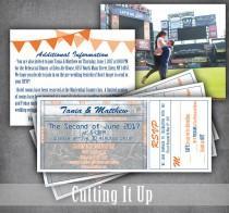 wedding photo - Baseball Wedding Invitation Set, Ticket Invitation, RSVP Ticket Stub, Sports Wedding, Detail Card, New York Mets, Extra Large, MLB, NHL