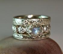 wedding photo - Rainbow Moonstone Wedding Set, Sterling Silver Moonstone Stacking Rings, Promise Ring, Fancy Bezel Setting
