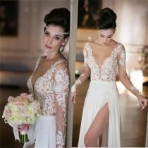 wedding photo - Deep V-Neck Long Sleeve Summer Beach Chiffon Simple Side Slit Most Popular Wedding Dress , PD0229