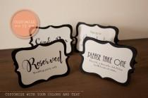 wedding photo - Custom Tented Wedding Signs, Party Signs, Event Signs, Food Markers ( Customize your colors and text)