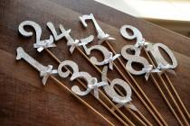 wedding photo - Table Numbers on Sticks in Glitter Silver. Silver Wedding Decor. Ships in 2-5 Business Days.  Glitter Silver Number Centerpiece.
