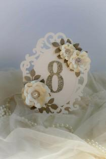 wedding photo - Ivory and gold oval frame shape style table number , glitter table numbers , glitter wedding decoration, Available in any colour!