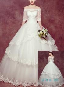 wedding photo - Vintage off shoulder ball gown wedding princess dress