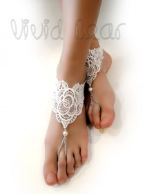 wedding photo - Lace Barefoot Sandals. Foot Jewelry. White Pearl Beads. Silver Chain Anklets. Beach Wedding. Boho Chic Bridal Accessory. Set of 2 pcs.