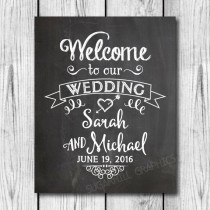 wedding photo - Chalkboard Welcome to our Wedding Sign, Printable Chalkboard Welcome Wedding Sign, Wedding Decor, Wedding Signage