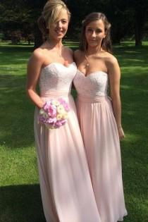 wedding photo - Simple Sweetheart Floor-Length Chiffon Pink Bridesmaid Dress with Lace