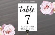 wedding photo - Printable DIY Table Number Cards 4X6
