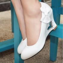 wedding photo - Heart Heel Bowtie Women Wedge Shoes